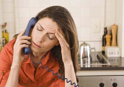 Distressed Woman on Phone